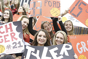 Photo of students at a basketball game. Link to Gifts by Will.